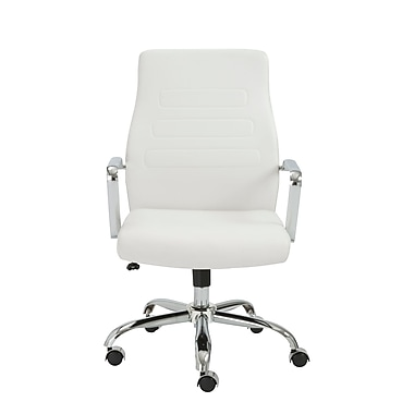 Eurostyle Fenella Leather Executive Office Chair, Fixed Arms, White (00535WHT)