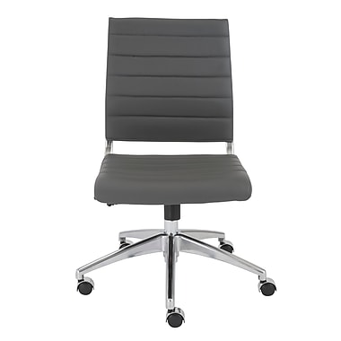Eurostyle Axel Leather Executive Office Chair, Armless, Gray (00595GRY)