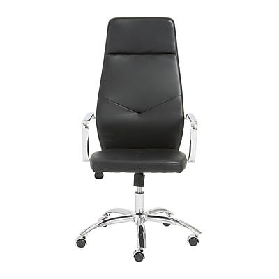 Euro Style™ Napoleon Leather High Back Office Chair, Black