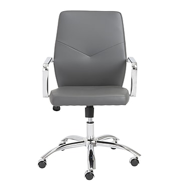 Eurostyle Napoleon Leather Executive Office Chair, Fixed Arms, Gray (01292GRY)