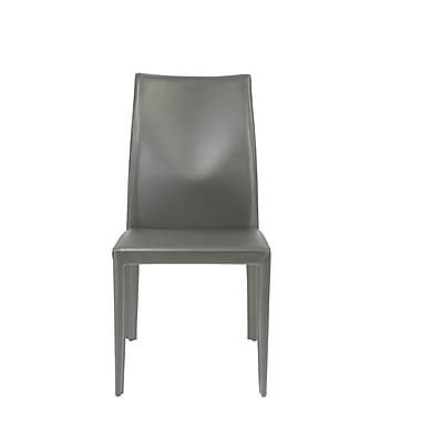 Euro Style™ Dafney Leather Side Chair, Gray