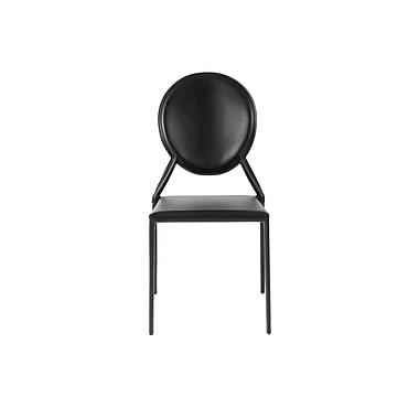 Euro Style™ Isabella Leather Side Chair, Black