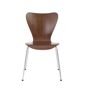 Euro Style™ Tendy Pro Wood Shell Stack Chair, Walnut