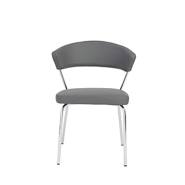 Euro Style™ Draco Leatherette Side Chair, Gray
