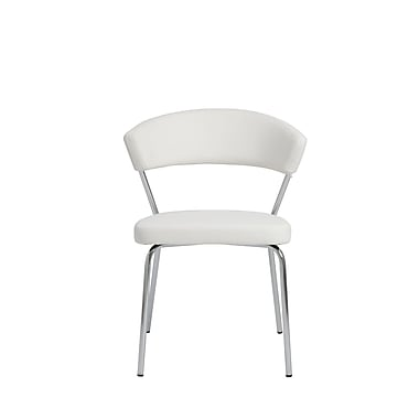 Euro Style™ Draco Leatherette Side Chair, White