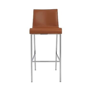 Euro Style Cam 40.2'' Contemporary Legged Base Leather Bar Stool, Cognac (05201COG)