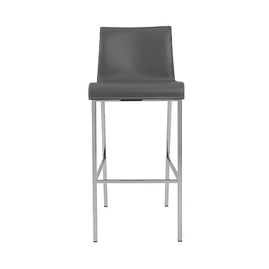 Euro Style Cam 40.2'' Contemporary Legged Base Leather Bar Stool, Gray (05201GRY)