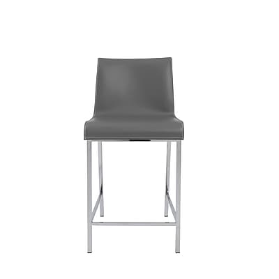 Euro Style™ Cam Leather Counter Stool, Gray