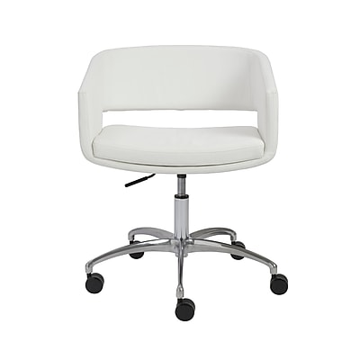 Euro Style Amelia Leather Conference Office Chair, Fixed Arms, White (17616WHT)
