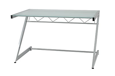Eurostyle Z Deluxe 50'' Rectangular Glass Contemporary Computer Desk, Frosted/Aluminum (27401)