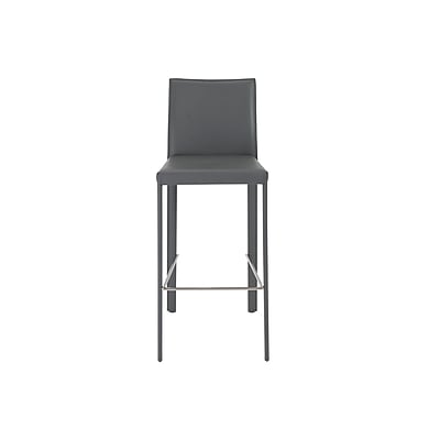 Euro Style™ Hasina Leather Bar Stool, Grey