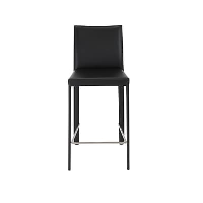 Euro Style Hasina 36.82'' Modern Foot Ring/Bar Leather Bar Stool, Black (38626BLK)