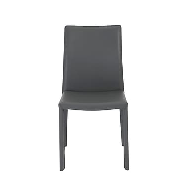 Euro Style™ Hasina Leather Side Chair, Gray