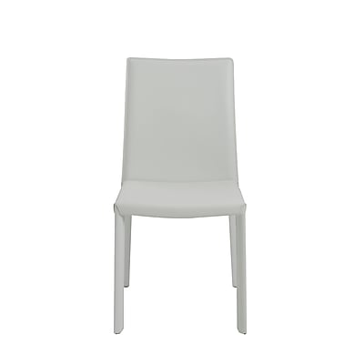 Euro Style™ Hasina Leather Side Chair, White