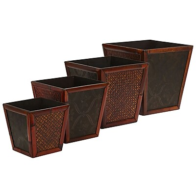 Nearly Natural 514 Bamboo Planters Set of 4
