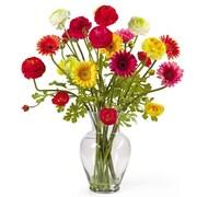 Nearly Natural 1102 Gerber Ranunculus Floral Arrangements, Red