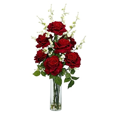Nearly Natural 1203 Roses with Cherry Blossoms Floral Arrangements, Red