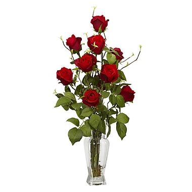 Nearly Natural 1213 Rosebud Silk Floral Arrangements, Red