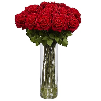 Nearly Natural 1214 Giant Rose Silk Floral Arrangements, Red