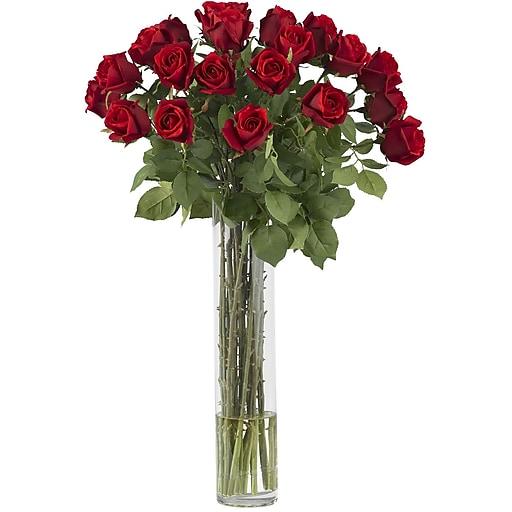 Nearly Natural 1218 Rosebud With Cylinder Vase Floral Arrangements