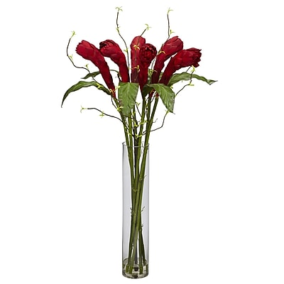 Nearly Natural 1242 Ginger with Cylinder Vase Floral Arrangements, Red