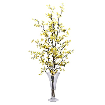 Nearly Natural 1254 Forsythia Silk Floral Arrangements, Yellow 1232737