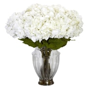 Nearly Natural 1255 Large Hydrangea in European Vase Floral Arrangements, White