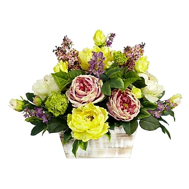 Nearly Natural 1258 Mixed Flowers with Silk Floral Arrangements, Pink