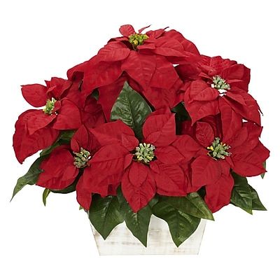 Nearly Natural 1262 Poinsettia Silk Floral Arrangements, Red