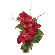 Nearly Natural 1263 Poinsettia in Fluted Vase Floral Arrangements, Red