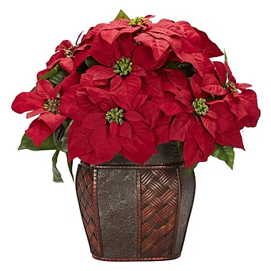 Nearly Natural 1264 Poinsettia in Decorative Vase Floral Arrangements, Red