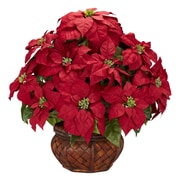 Nearly Natural 1265 Poinsettia in Deco Planter Floral Arrangements, Red