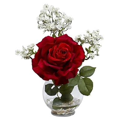 Nearly Natural 1282 Rose and Gypso in Fluted Vase Floral Arrangements, Red