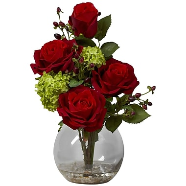 Nearly Natural 1284 Rose and Hydrangea Floral Arrangements, Red