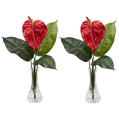 Nearly Natural 1286 Anthurium in Bud Vase Set of 2, Red