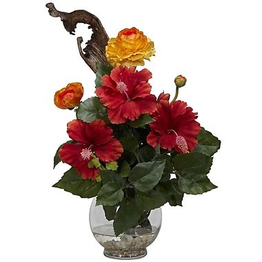 Nearly Natural 1287 Hibiscus and Ranunculus Floral Arrangements, Red