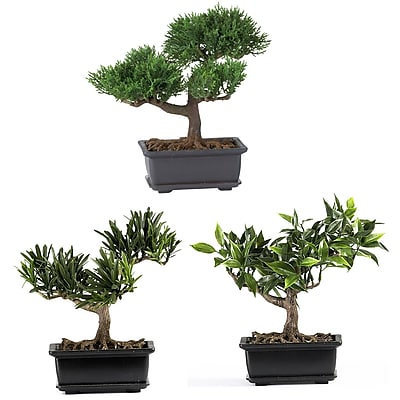 """Nearly Natural 4122 8"""" Bonsai Set of 3 Plant in Pot"""