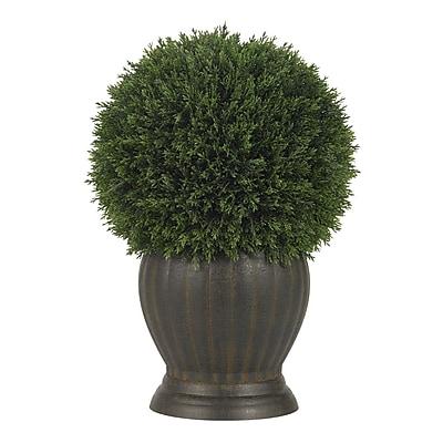 Nearly Natural 4123 Cedar Ball Topiary Desk Top Plant in Decorative Vase