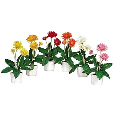 Nearly Natural 4600 Gerber Daisy Set of 6, Orange