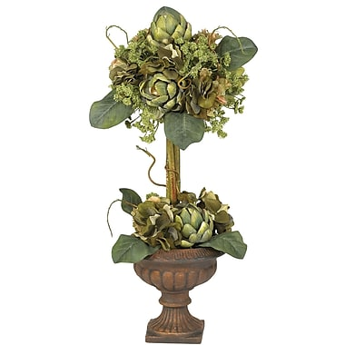 Nearly Natural 4633 Artichoke Topiary Floral Arrangements, Green