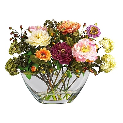 Nearly Natural 4668 Peony with Glass Vase Silk Floral Arrangements, Assorted