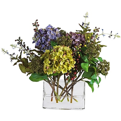 Nearly Natural 4670 Mixed Hydrangea with Vase Floral Arrangements, Assorted