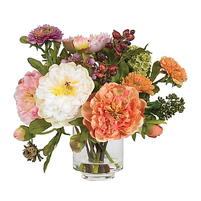 Nearly Natural 4689 Peony Silk Floral Arrangements, Orange