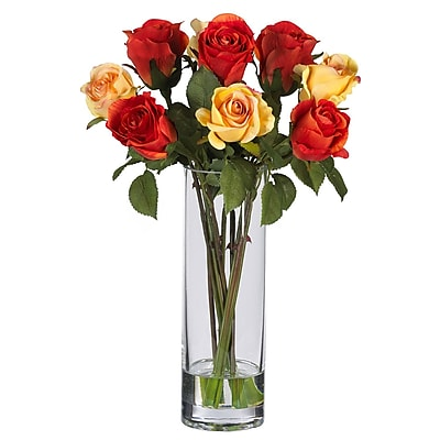 Nearly Natural 4740 Roses with Glass Vase Floral Arrangements, Red
