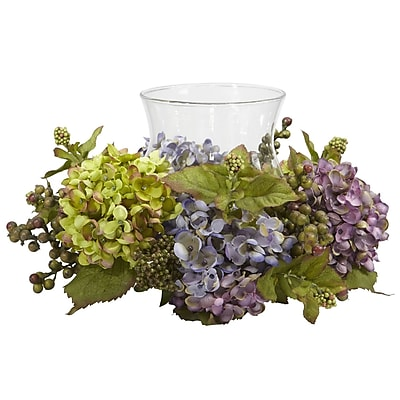 Nearly Natural 4758 Mixed Hydrangea Candelabrums, Blue