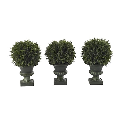 """Nearly Natural 4761 9"""" Cedar Ball Set of 3 Floor Plant in Decorative Vase"""