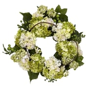 "Nearly Natural 22"" Hydrangea Wreath, Cream/Green (4780)"