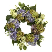 "Nearly Natural 4781 22"" Hydrangea Wreath, Blue"