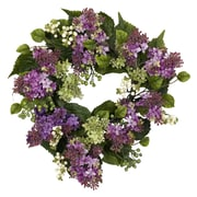 "Nearly Natural 4786 20"" Hanel Lilac Wreath, Green"