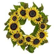 "Nearly Natural 4787 22"" Sunflower Wreath, Yellow"